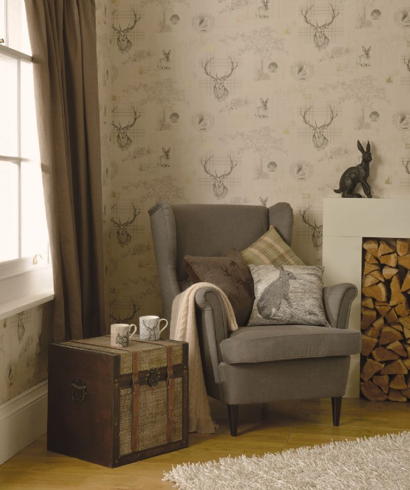 Holden Decor Richmond Beige Stag 98012 Wallpaper